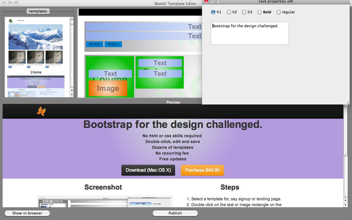 bootstrap template editor 1 0. Black Bedroom Furniture Sets. Home Design Ideas