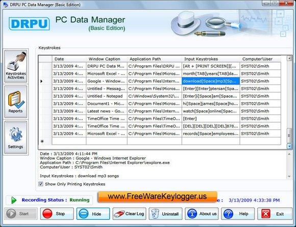 Keylogger spy software 501: keylogger keyboard logger keystrokes recorder key logging tool record all key