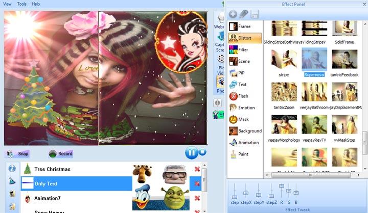 Webcam efects like